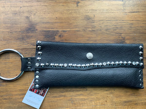 Black Studded leather wristlet