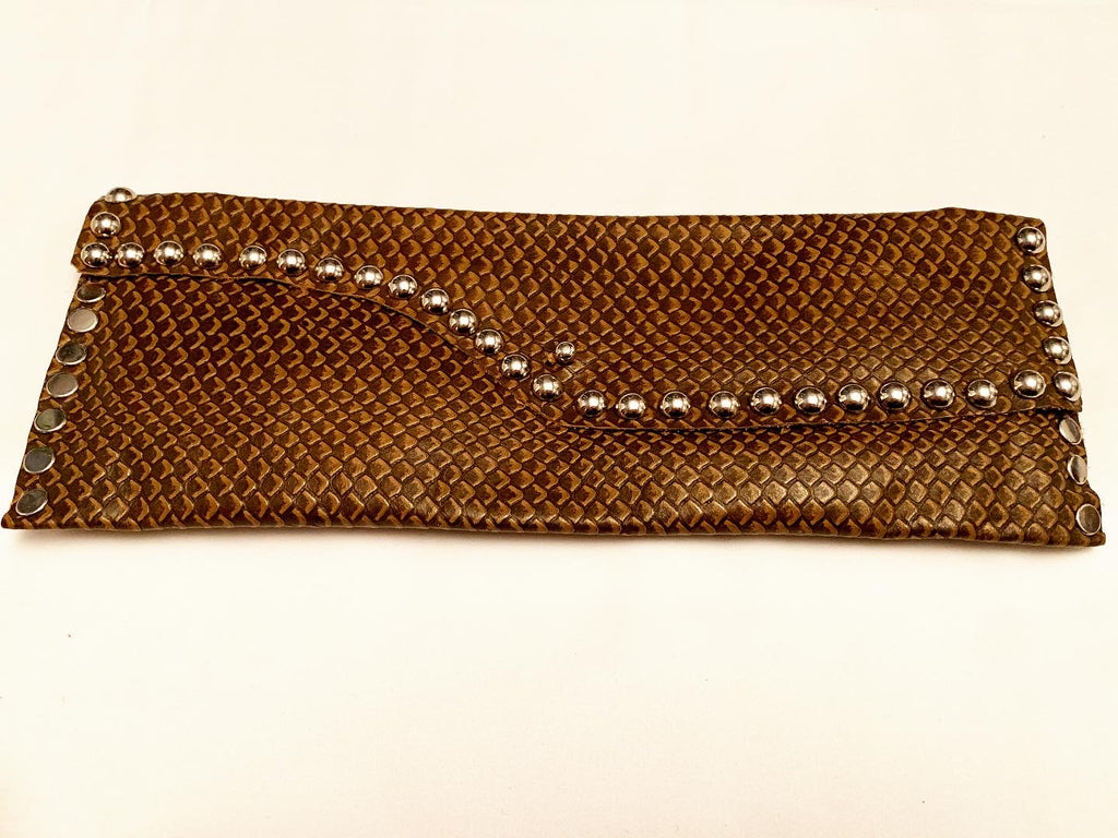 Snake skin embossed leather wallet