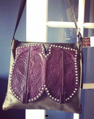 Purple and Black Cowboy Boot Bag