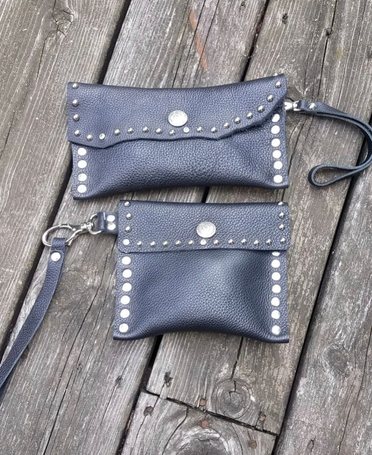 Black Leather wristlet pouch