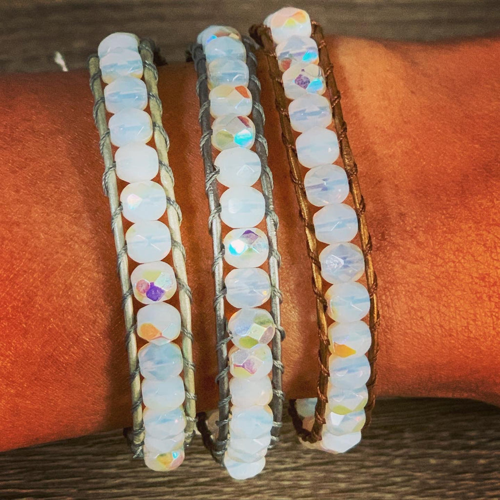 Pearl white beaded bracelets