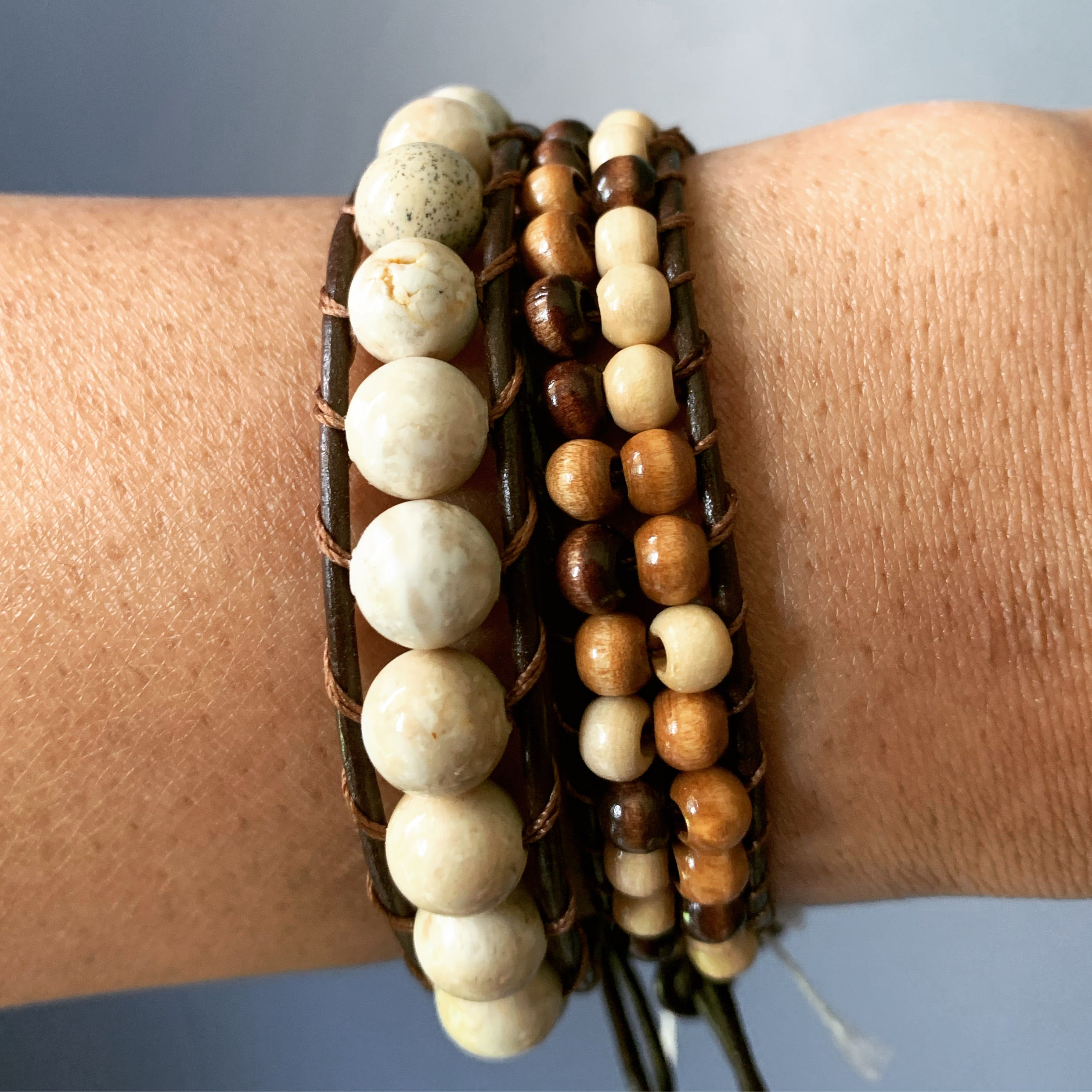 Brown beaded bracelet set