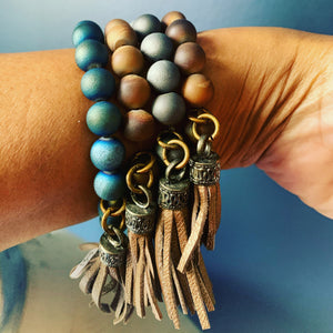 Beaded Bracelet with leather tassel