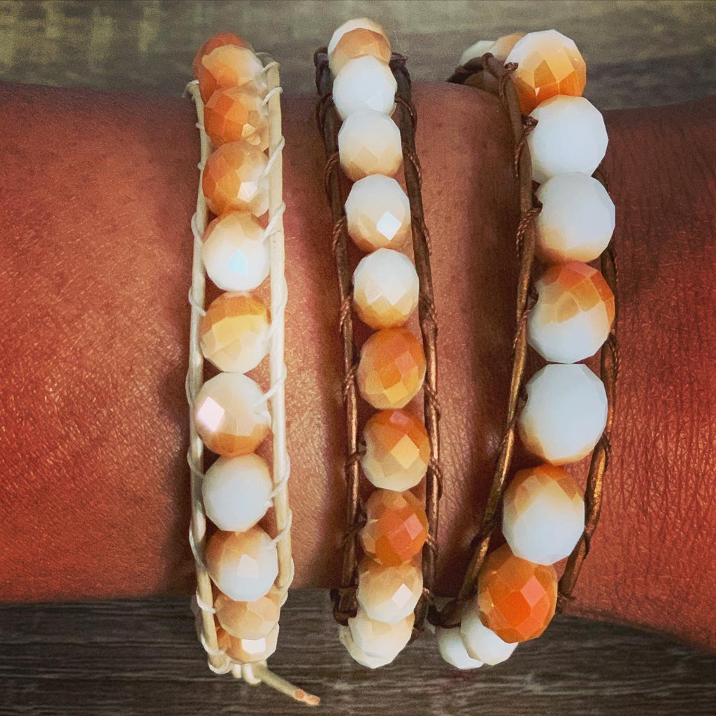 Carmel and white beaded bracelets