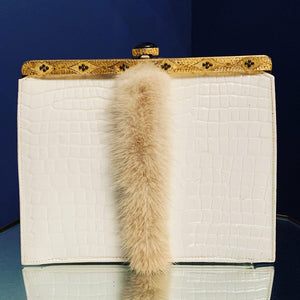 Vintage white patent leather with fur