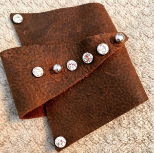 Brown leather wrap cuff