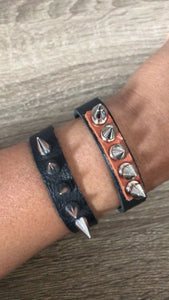 Spiked leather wrap bracelet