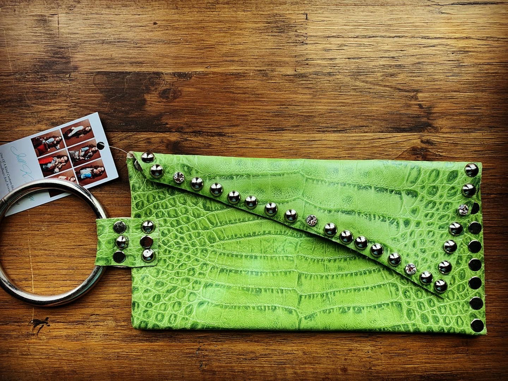 Green Alligator embossed leather clutch