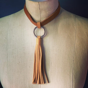 Leather Fringe Choker