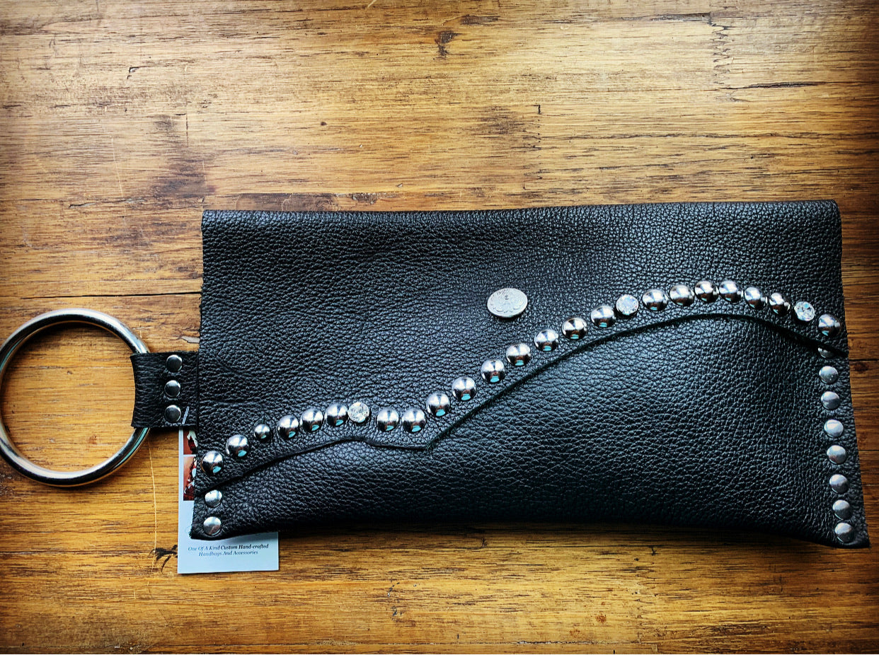 Large Black Studded wristlet