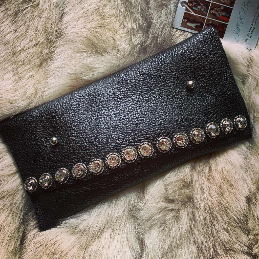 Leather/Crystal Mini Clutch