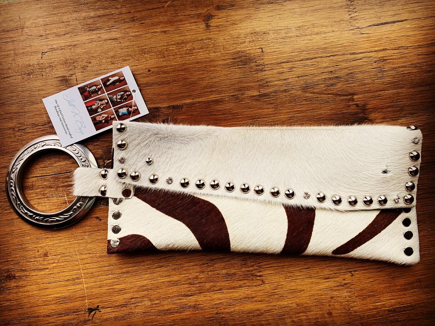 Tan and brown hide wristlets