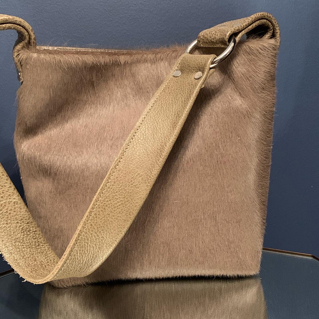 Tan hair on hide fused to leather Mini Tote