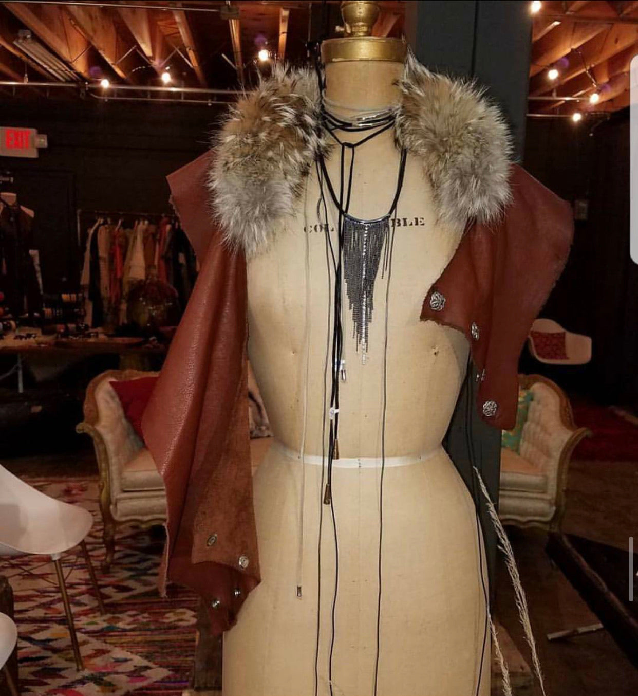 Leather Fur Wrap