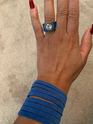 Blue Suede wrap ring