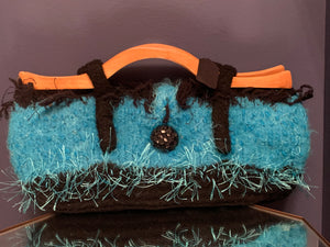 Turquoise and Black hand woven Tote