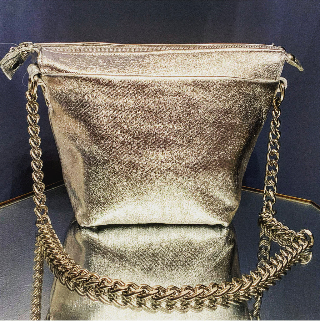 Pewter lambskin mini tote