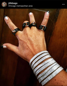 Black leather wrap ring