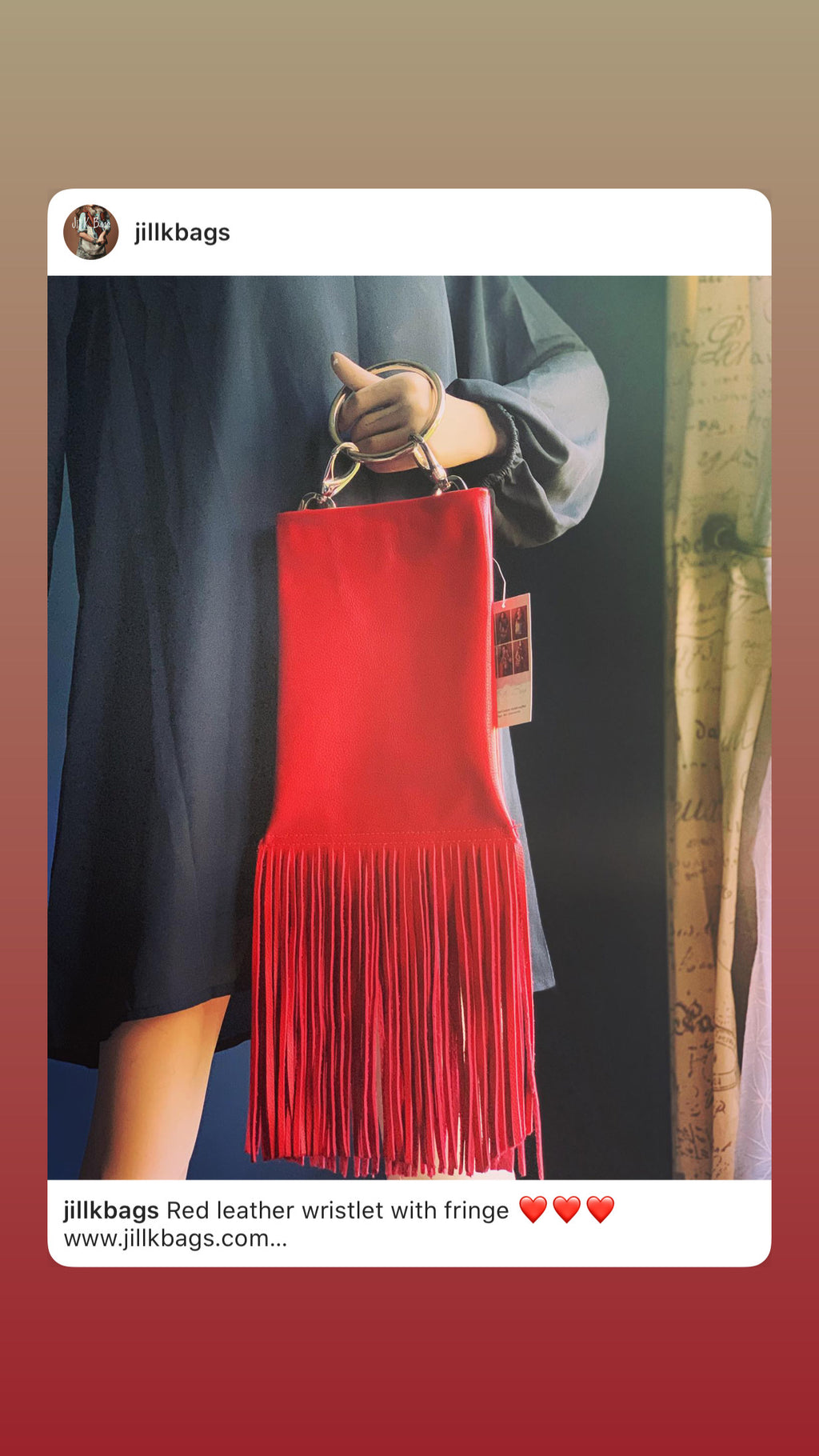 Large Red Wristlet with Fringe