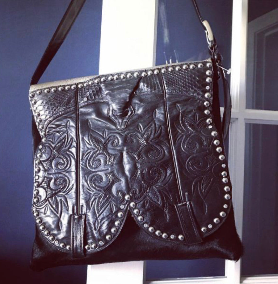 Black on stingray Cowboy Boot Bag