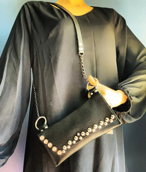 Studded Black leather shoulder bag