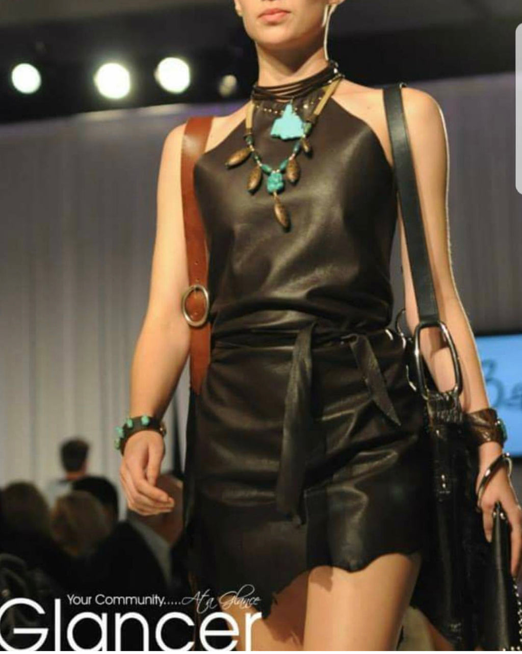 Dark Brown Leather Wrap Dress