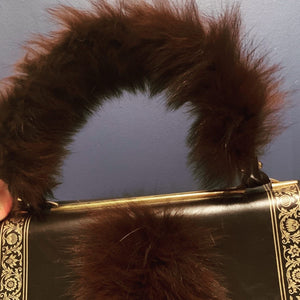 Brown and Gold vintage /Fur Tote
