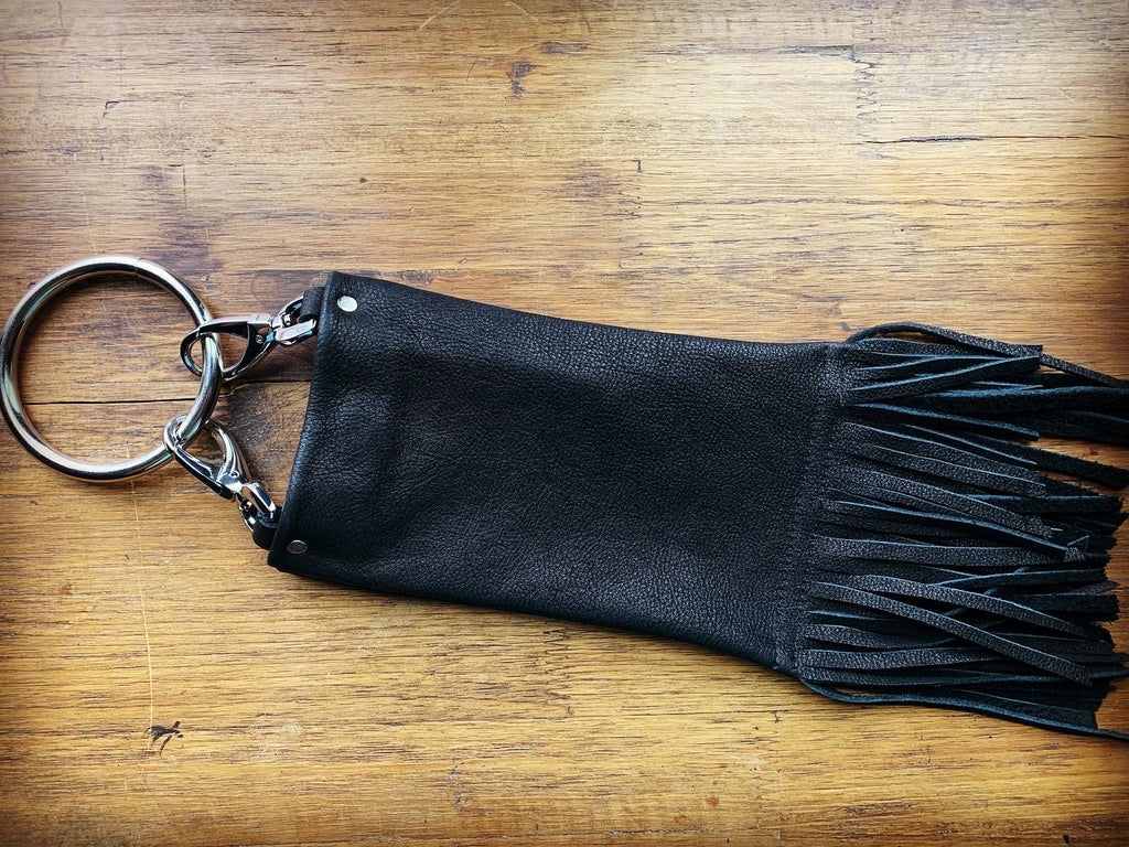 Black textured leather with short fringe