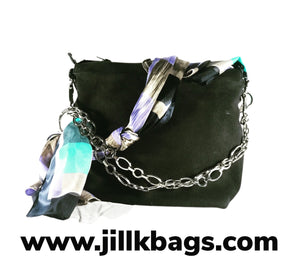 Black suede with chain and ribbon tote