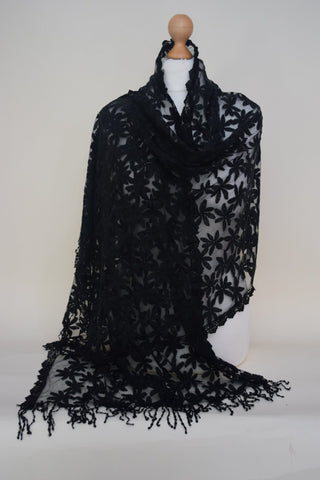 Black Net Lace Scarf/Hijab