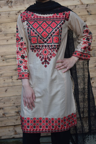 Cross Stitched Embroidery Kurta