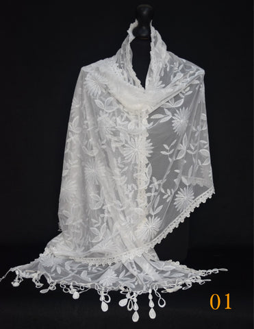 White Net Lace Stole / Hijab/ Scarf
