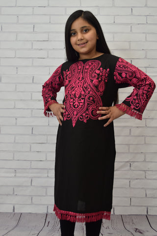 Girls Black cotton Kurta