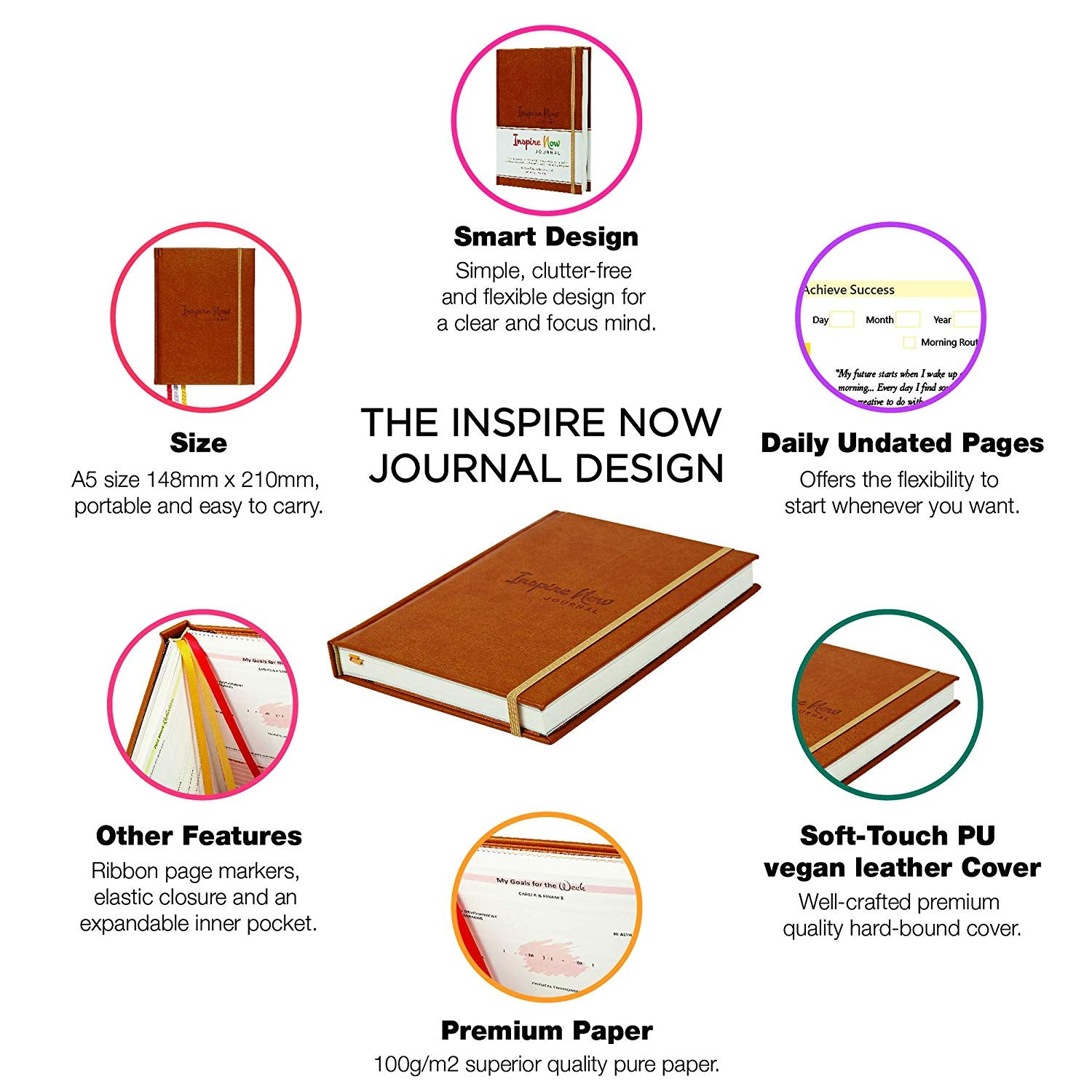 INSPIRE NOW JOURNAL – A5 Daily & Weekly Productivity Planner | Light Brown