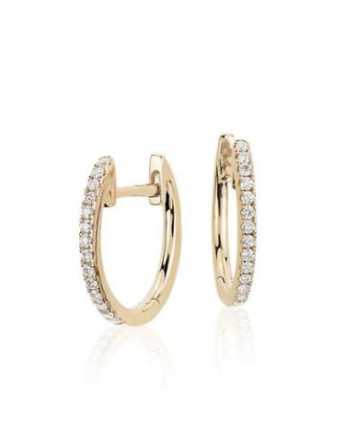 14K Solid Gold & Diamond Huggies