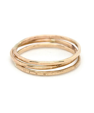 SOLID 14K GOLD Triple Stack Hammered Bands