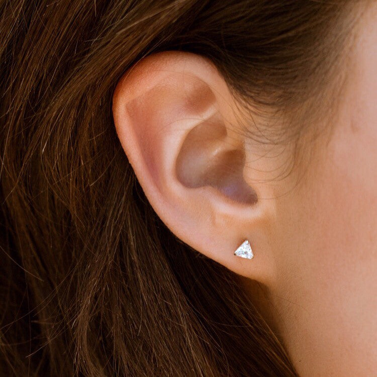 14K Gold Triangle Stud Earrings