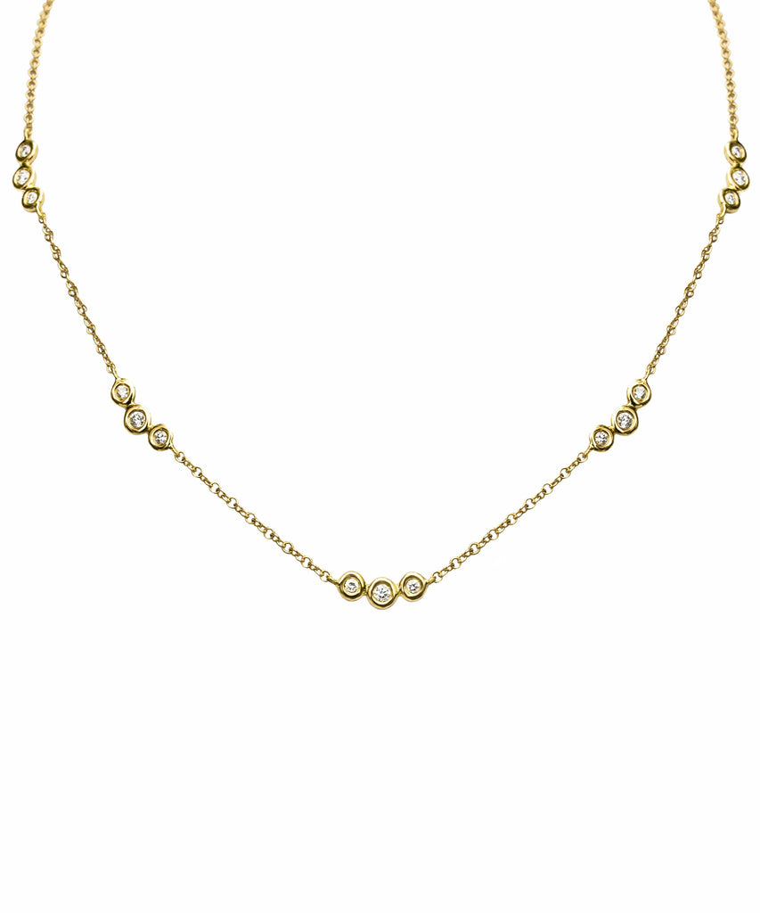 Solid 14k gold 15 diamond necklace