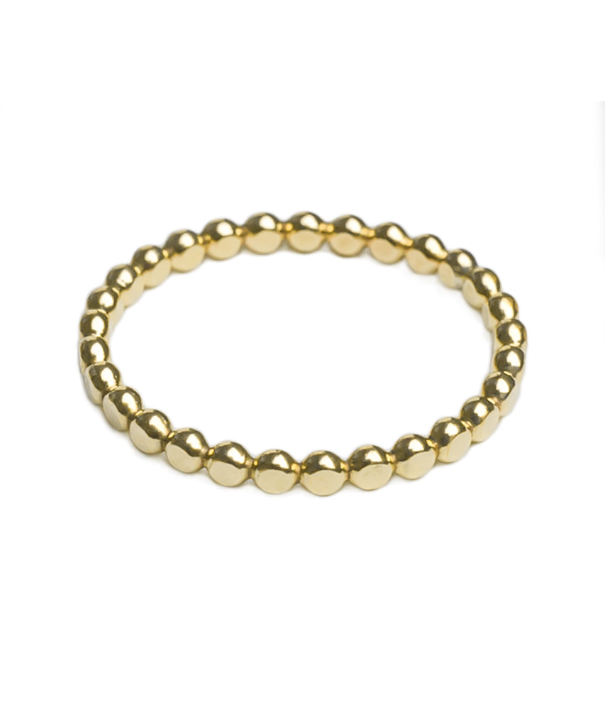 14K Gold Filled Flat Beaded Stack Ring
