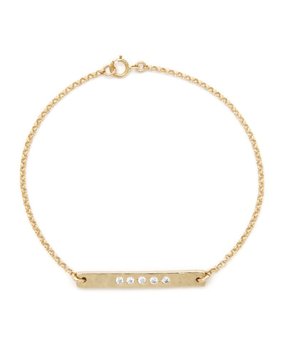 14k Gold Filled Crystal Embedded Hammered Bar Bracelet