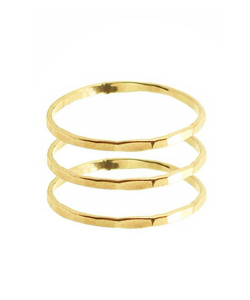 Triple Stack Sterling Silver or 14K Gold Filled Hammered Bands