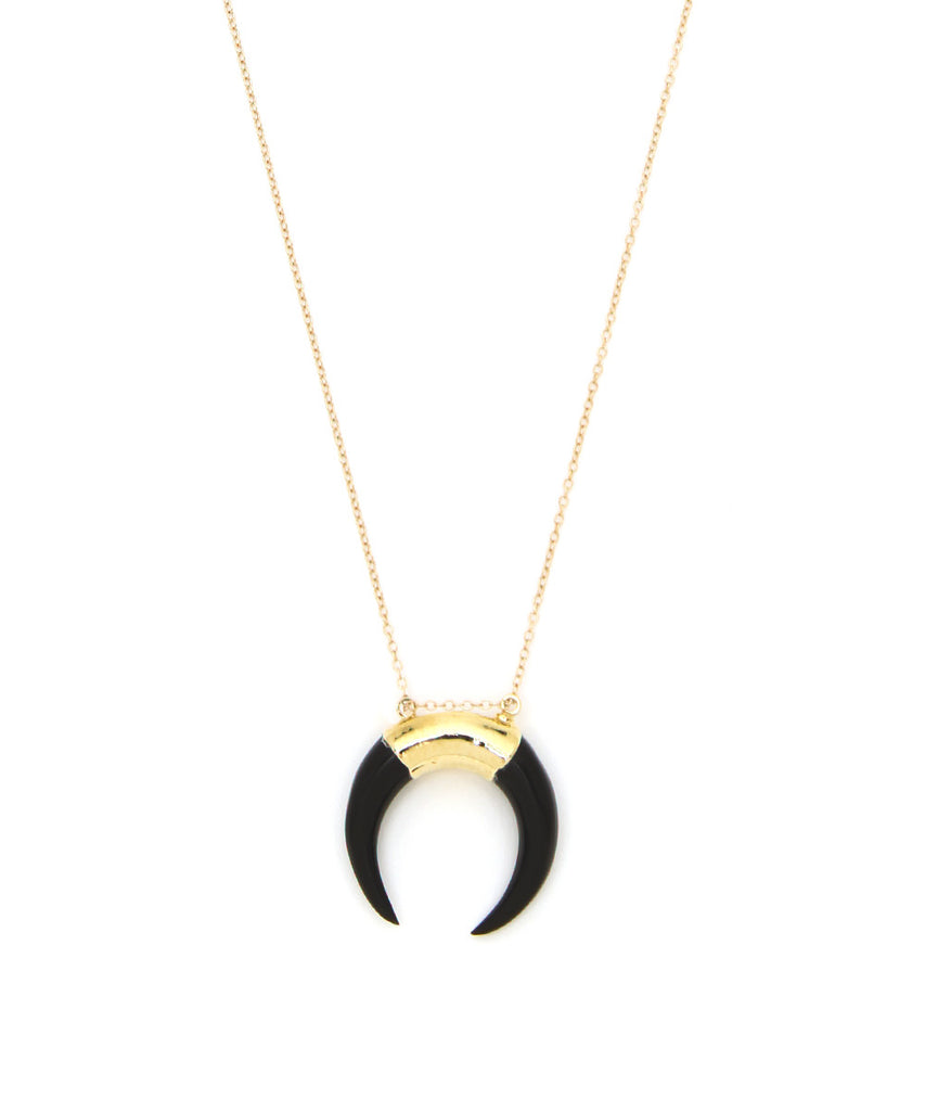 Large Bone Crescent 14K Gold Filled Necklace