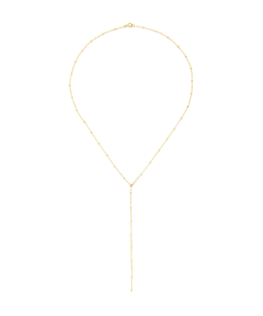 14K Gold Dipped Beaded Drop Down Necklace