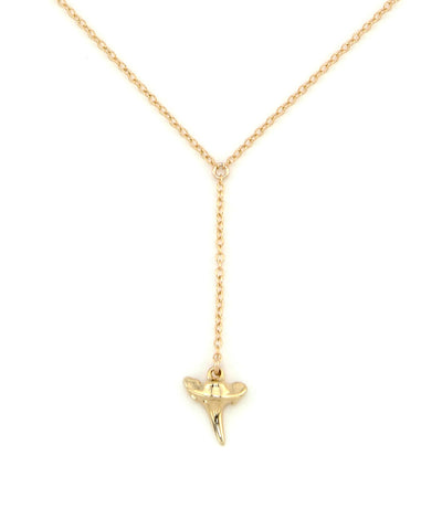 14K Gold Filled Lariat Baby Shark Tooth Necklace