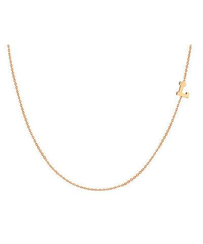 14K solid gold TINY Sideways Initial Necklace