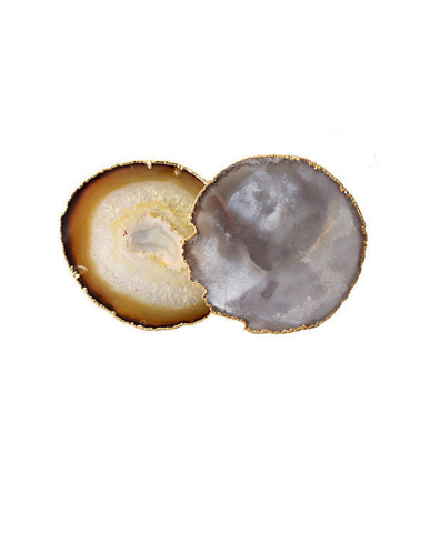 Set of two natural agate gold edged coasters
