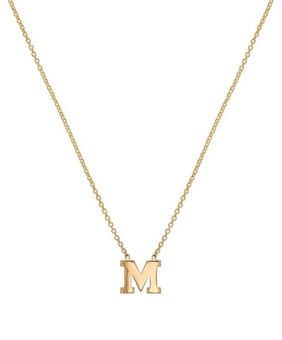 14K solid gold TINY Center Initial Necklace