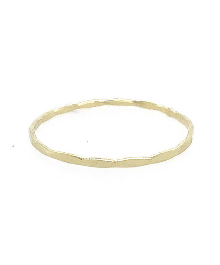 Tiny Solid 14k Gold Hammered Band