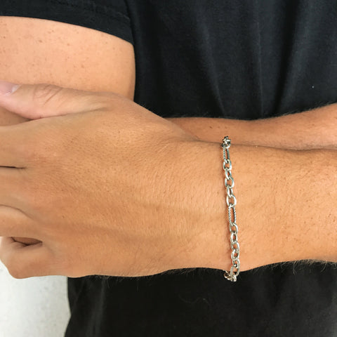 Mens Sterling Silver Theodore Bracelet