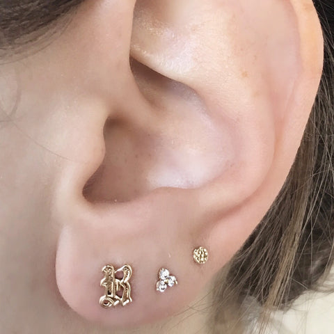 14K REBEL Initial Old English Stud Earring
